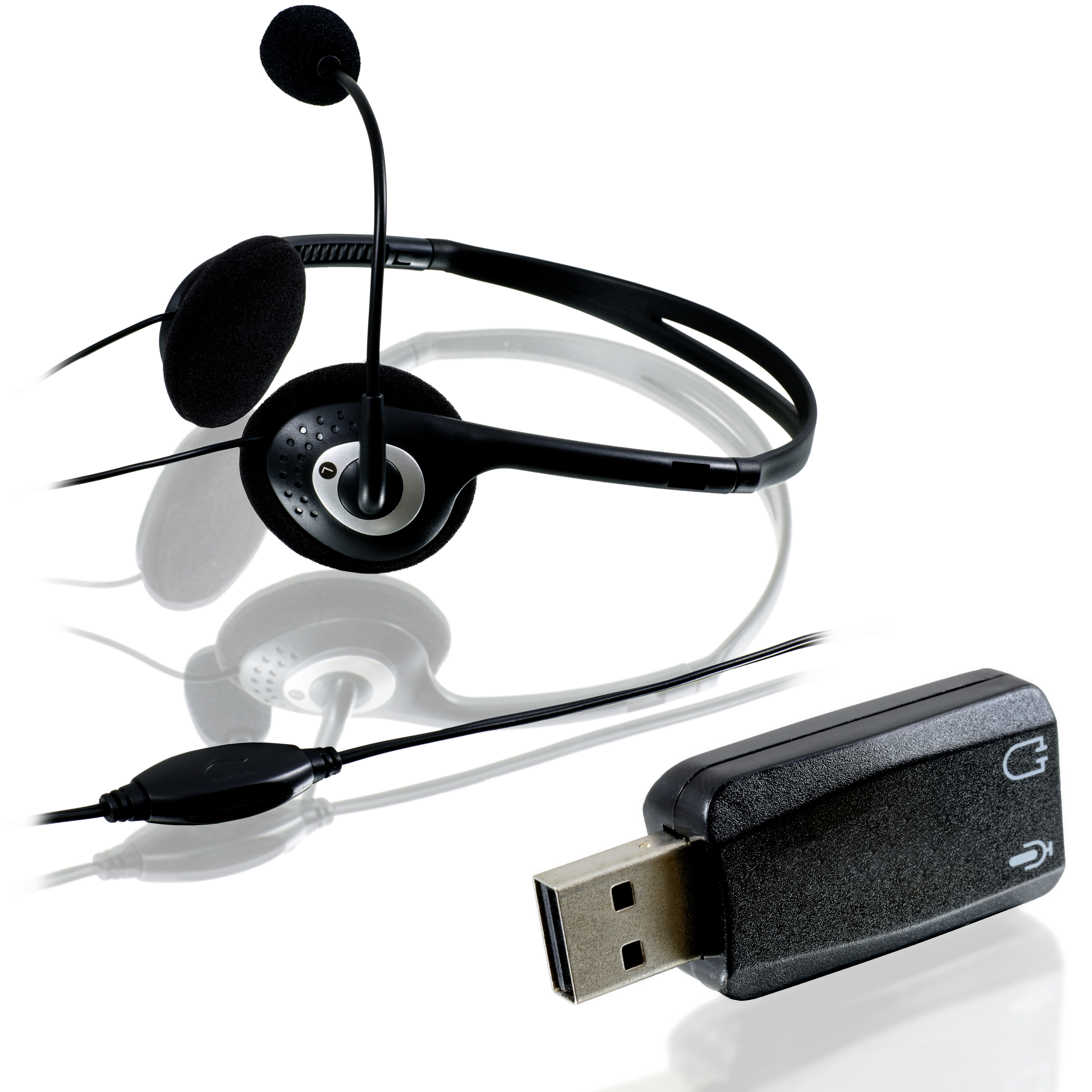 USB-Headset-Bundle-externe-Virtual-5-1-USB-Soundkarte-Headset-m-Mikrofon